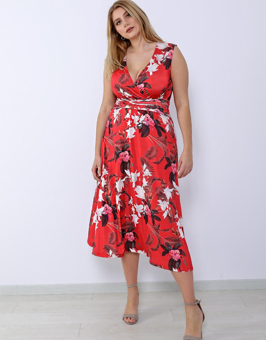 7047565a8e85 Plus size κρουαζέ φόρεμα με ζώνη