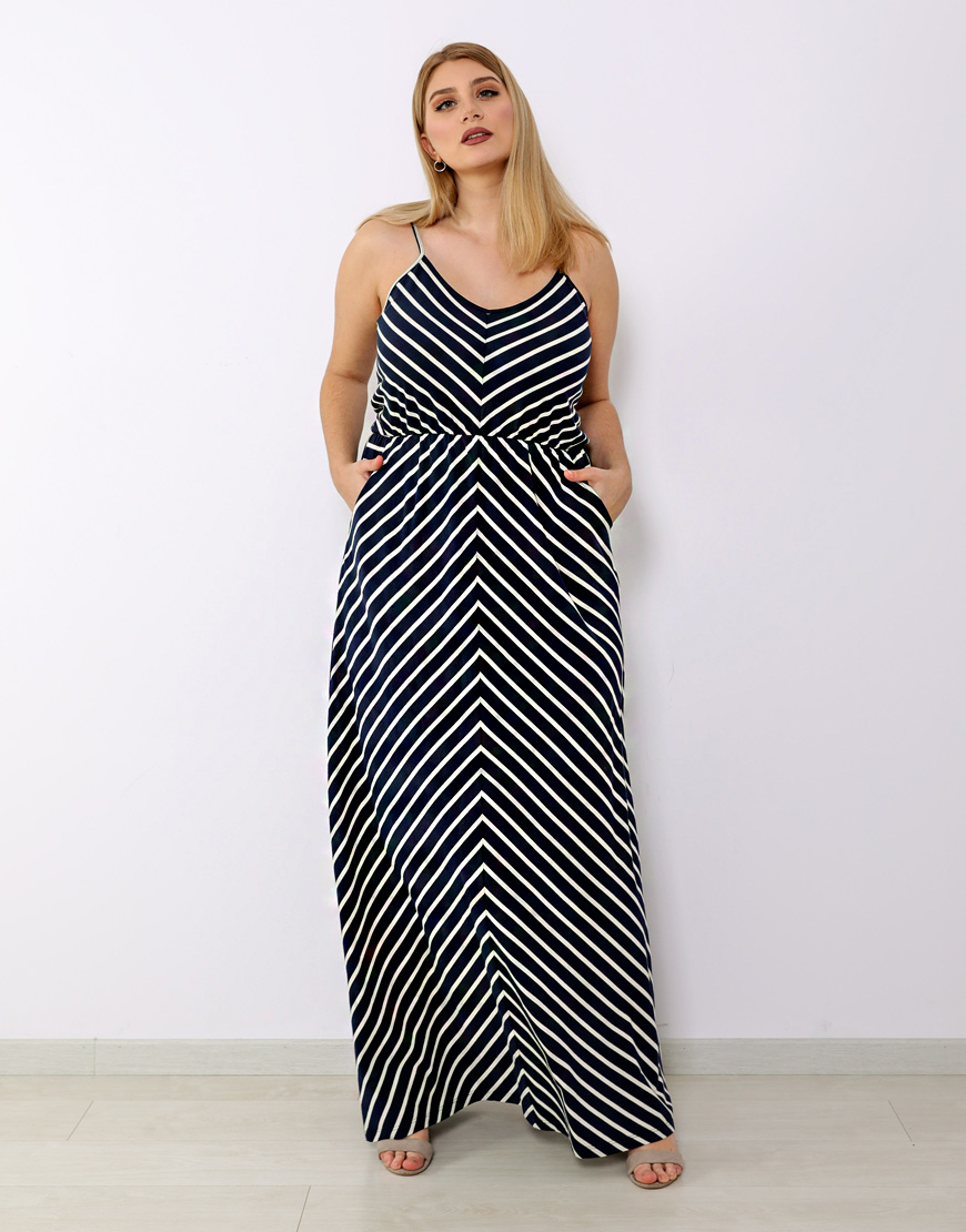 7650956dff36 Plus size φόρεμα μάξι τιραντέ με λάστιχο στη μέση