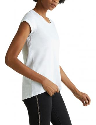 ESPRIT AIRY SLUB T-SHIRT NORMAL FIT ΓΥΝΑΙΚΕΙΟ ΛΕΥΚΟ