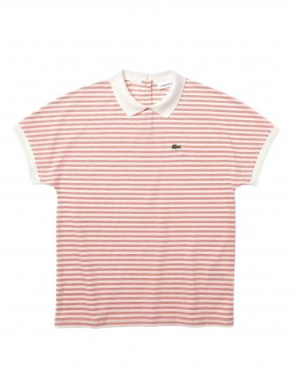LACOSTE STRIPED POLO T-SHIRT CLASSIC FIT ΓΥΝΑΙΚΕΙΟ ΚΟΚΚΙΝΟ