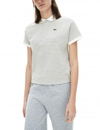 LACOSTE STRIPED POLO T-SHIRT CLASSIC FIT ΓΥΝΑΙΚΕΙΟ ΓΚΡΙ