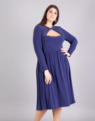 Κλός μίντι φόρεμα για μεγάλα μεγέθη σε ζέρσεϊ με άνοιγμα εμπρός και σιφόν  δίχτυ.Το 0ccd77b7eec