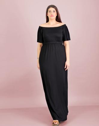 91ed2ea9ead3 Έξωμο μάξι φόρεμα για μεγάλα μεγέθη σε ελαστικό ζέρσεϊ.Το μοντέλο φοράει:  XLΎψος μοντέλου