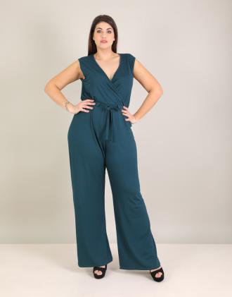 351f3e2a52ae Κρουαζέ ολόσωμη φόρμα για μεγάλα μεγέθη με ζώνη σε ελαστικό ζέρσεϊ.Το  μοντέλο φοράει: