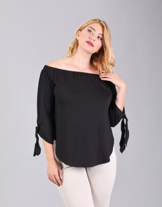 Έξωμη μπλούζα για μεγάλα μεγέθη με δέσιμο στο μανίκι 26c5711f768