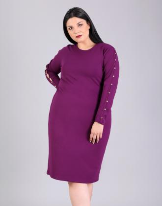 Εφαρμοστό φόρεμα για μεγάλα μεγέθη με κουμπιά στα μανίκια f20df8e838f