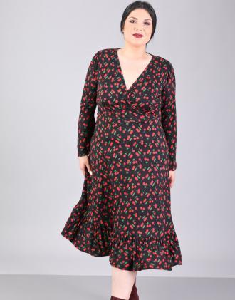 Κλος κρουαζέ φόρεμα για μεγάλα μεγέθη με καμπάνα μανίκι και τύπωμα  κερασάκια 826439af0ee