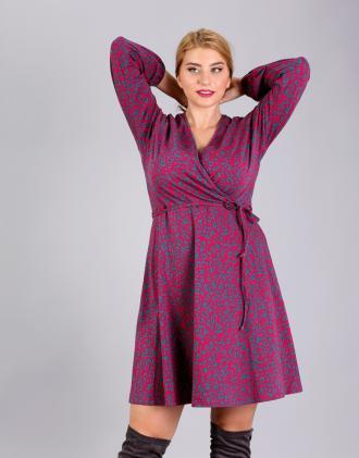 674e838d085 Κρουαζέ κλος φόρεμα για μεγάλα μεγέθη με φούσκα μανίκι, σε ζέρσεϊ άνιμαλ  τύπωμα.Το