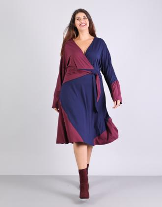 ae509da61504 Κρουαζέ colorblock κλος φόρεμα για μεγάλα μεγέθη με ζώνη