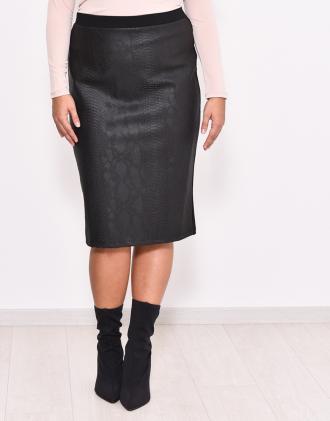 Πένσιλ φούστα δερματίνη με τύπωμα φίδι εμπρός e437d5e3f4e
