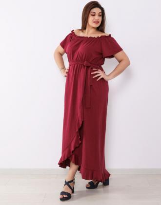 71988f3e5e68 Plus size έξωμο μάξι φόρεμα με βολάν στον ποδόγυρο και ζώνη