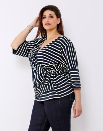 59d1b44114a0 Plus size ριγέ κρουαζέ μπλούζα με κιμονό μανίκια
