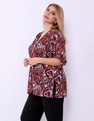 449864727bc0 Plus size πουκάμισο υφαντό σε λαχούρ τύπωμα με 3 4 μανίκι.Model wears