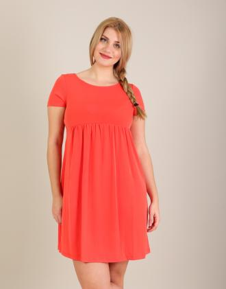 6ba1c2e64e8f Ζέρσεϊ κοντομάνικο κλος φόρεμα με χιαστί κορδόνι στη πλάτη.Το μοντέλο  φοράει  MΎψος μοντέλου