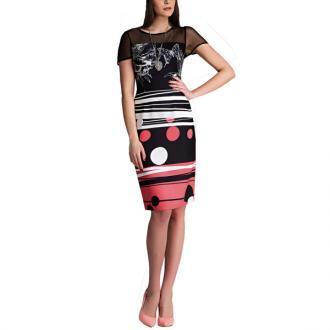 baa815d7633a Απογευματινό φόρεμα με διαφάνεια στους ώμους και στο μανίκι.