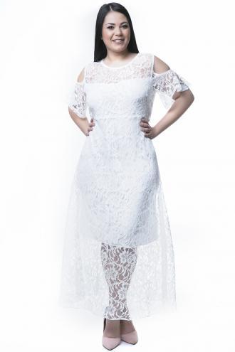 a53ac94e3e1b Δαντελένιο maxi φόρεμα Kοντά βολάν μανίκια Cold shoulders Εσωτερική midi  επένδυση Ανοιχτή λαιμόκοψη Κλείνει με φερμουάρ