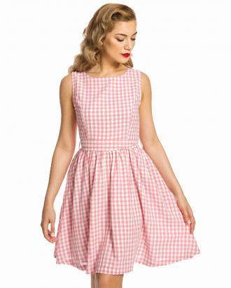 sweet vintage country καρώ φόρεμα Audrey pink feac4e1de86