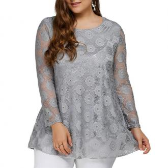 Solid Color Lace Hollow Out Long Sleeve T Shirt