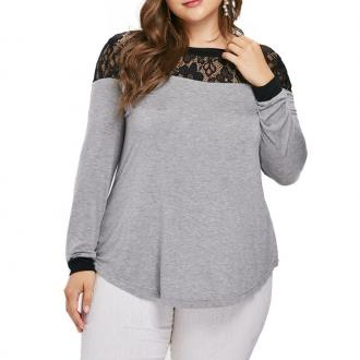 Lace Splicing Long Sleeve T Shirt