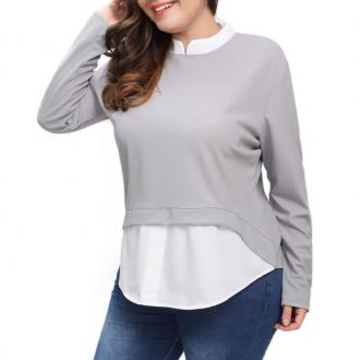 Splicing Long Sleeve Blouse