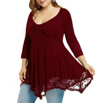 3/4 Length Sleeve Lace Splicing Long Sleeve T Shirt