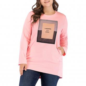Large Size Women%27s Casual Round Neck Loose Collage Long T-Shirt