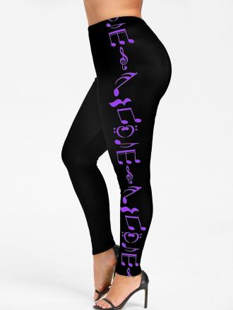 Plus Size Music Notes Skinny Leggings