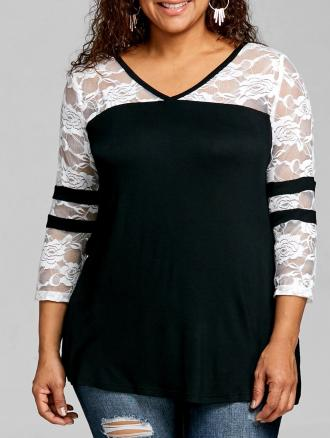 Plus Size Lace Panel V Neck T-shirt