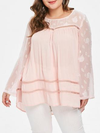 Plus Size Spliced Hollow Out Tunic Top
