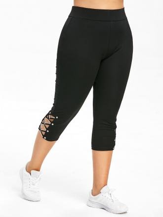 Plus Size Criss Cross Capri Skinny Gym Leggings