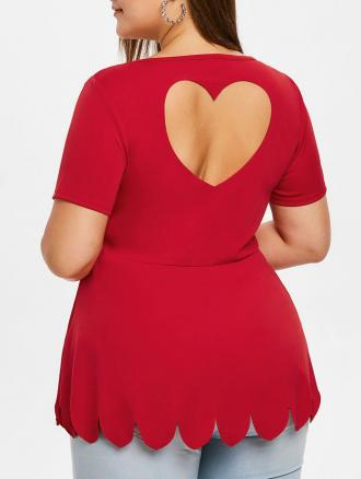 Plus Size Scalloped Cut Out Back T Shirt
