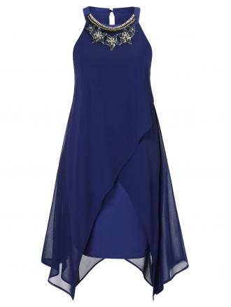 Plus Size Rhinestone Overlay Trapeze Dress