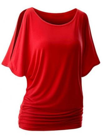 Plus Size Round Neck Side Ruched T-shirt