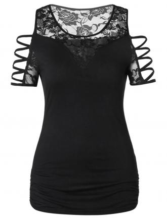 Plus Size Criss Cross Lace Panel T Shirt