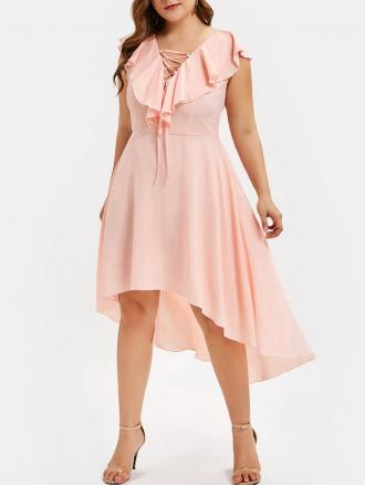 Ruffle Embellished Plus Size Lace Up Dress