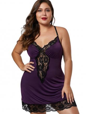 Lace Hem See Through Plus Size Babydoll