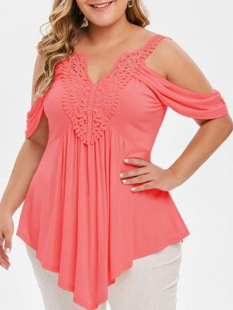 Plus Size Asymmetrical Lace Crochet Cold Shoulder T-shirt