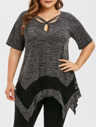 Plus Size Asymmetrical Lace Panel Keyhole T Shirt