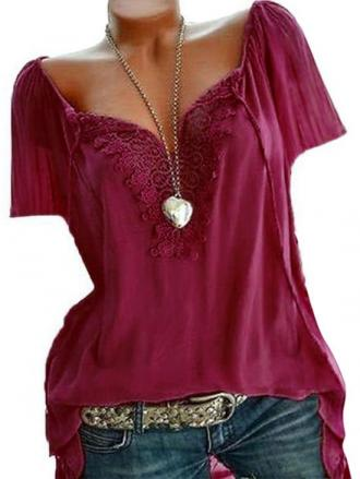 Plus Size Lace Panel Blouse
