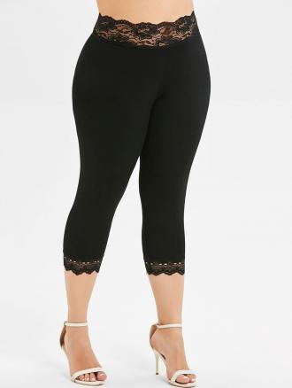 Plus Size Lace Insert Capri Leggings