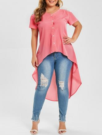 Plus Size High Low Lace Panel Blouse