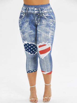 Skinny American Flag Capri Plus Size Jeggings