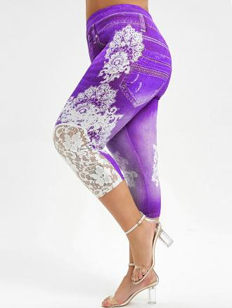Capri Lace Panel Printed Plus Size Jeggings