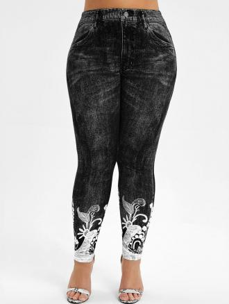 High Waisted Printed Plus Size Jeggings