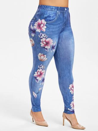 Plus Size High Rise Floral Jean 3D Print Jeggings