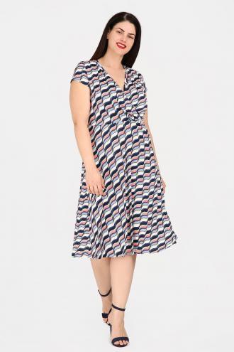 6239a52dc2b Εμπριμέ midi φόρεμα από σούπερ ζέρσεϋ, με φλούο λεπτομέρειες. V κρουαζέ  ντεκολτέ με πιέτες