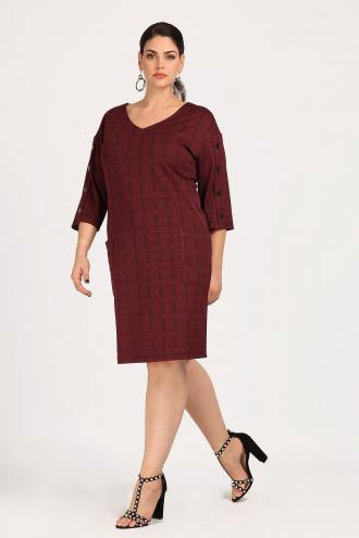 Φόρεμα midi σε καρό ύφανση πρενς ντε γκαλ b387e5748a2