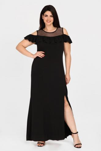 7247c6f1095 Maxi cold-shoulder φόρεμα με ελαστικότητα και σκίσιμο στο πλάϊ. Με  λεπτομέρειες από δίχτυ