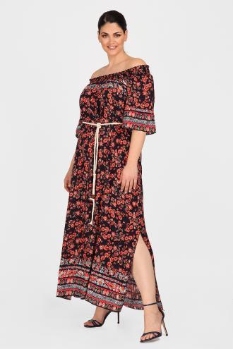 bd87f53b10ed Midi φόρεμα από 100% ανάλαφρη βισκόζη σε φλοράλ μοτίβο. Ελαστικό ντεκολτέ  και 3