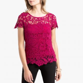 Blouse in stunning textured guipure lace with an integral top with shoestring straps in a draping fabric. A customer favourite. Wear loose or belted. Round neckline with satin taped edging. Scalloped hem and short sleeves.Fabric content and details:Fabric: textured guipure lace, 100% cotton. Draping 100% polyester. Length: blouse 58cm, top 54cm.Brand: Anne WeyburnCare advice:Hand wash inside out.Iron inside out at low temperature.